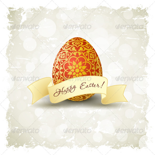 Grungy Easter Background with Decorated Egg