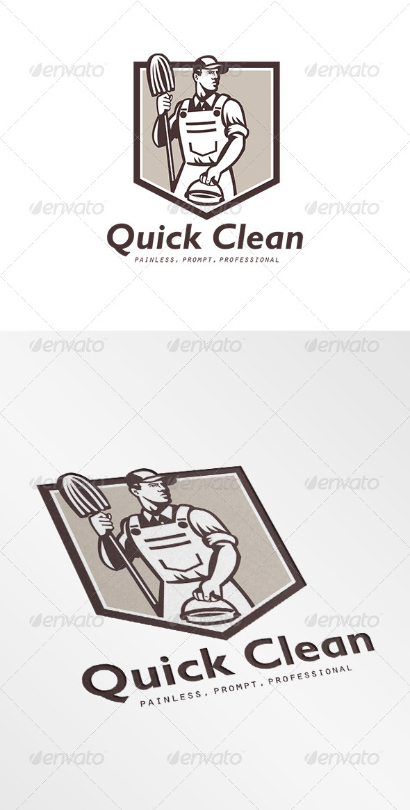 Quick Clean Janitor Cleaner Logo