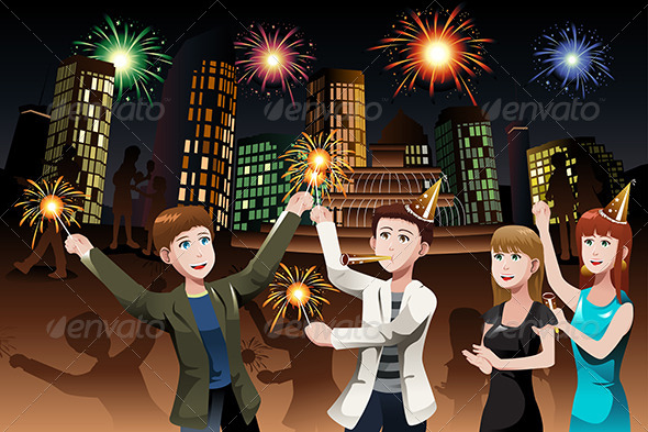 Young People celebrating New Year
