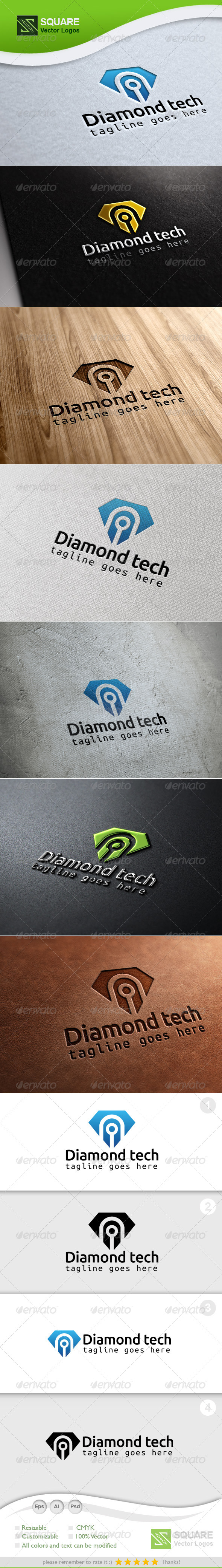 Diamond, Tech Vector Logo Template