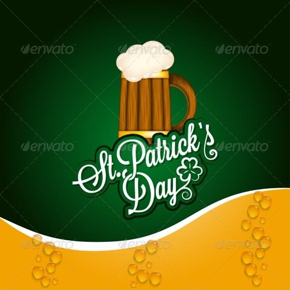 Patrick Day Beer Mug Vintage Background