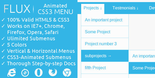 FLUX | CSS3-Animated Menu Download