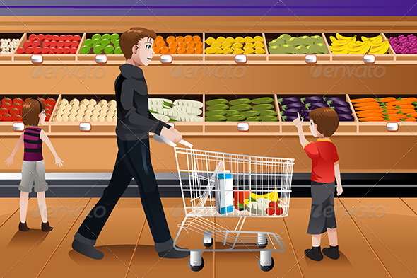 Father and His Kids Grocery Shopping
