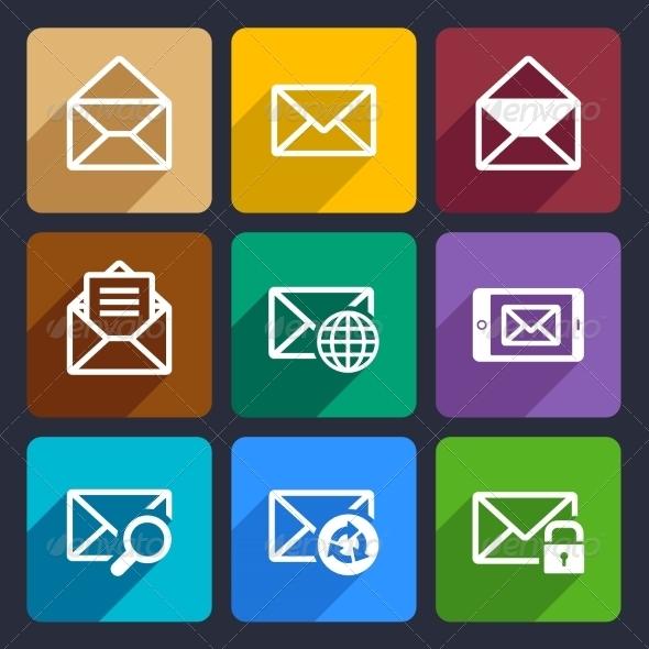Mail  Flat Icons Set 47
