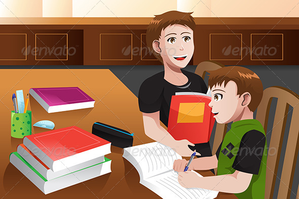 Father Helping his Son doing Homework