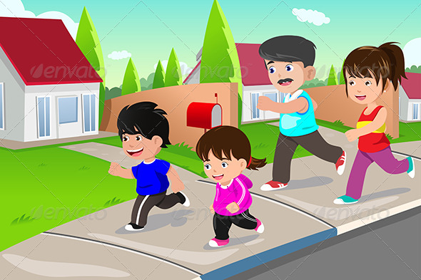 Family Running Outdoor in a Suburban Neighborhood