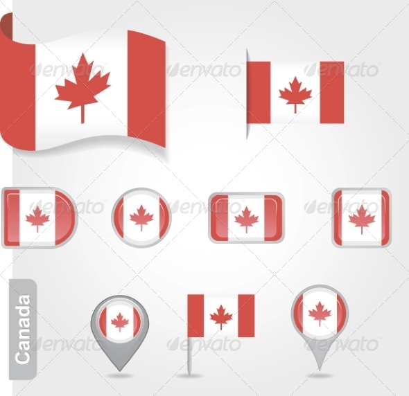 Set of Candadian Icons and Flags