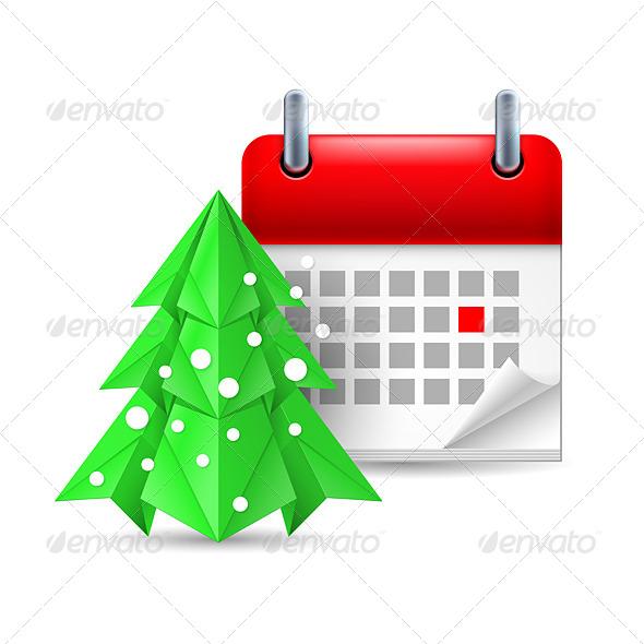 Paper Pine Tree and Calendar