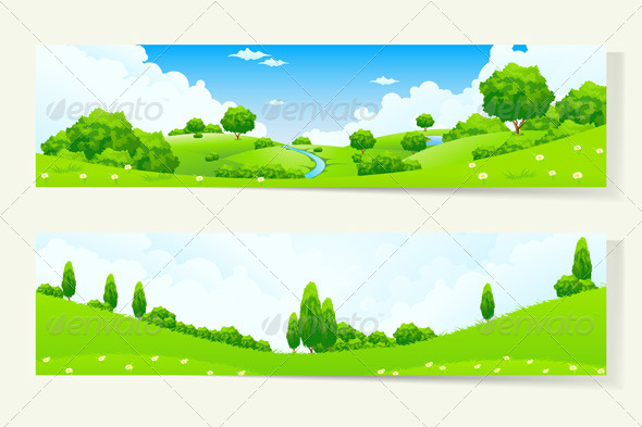 Two Horizontal Banners with Nature Landscape
