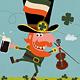 Leprechaun Dancing with Irish Shamrock - GraphicRiver Item for Sale
