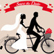 Wedding Couple On Tandem Bicycle, Vector - GraphicRiver Item for Sale