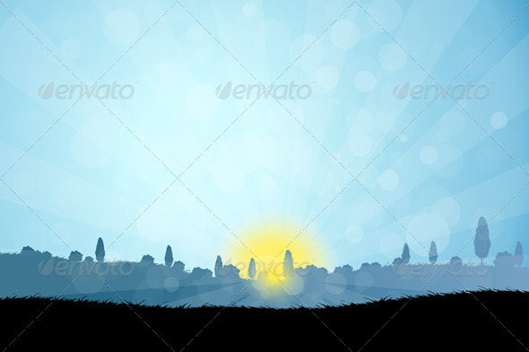 Landscape with  Tree Silhouettes