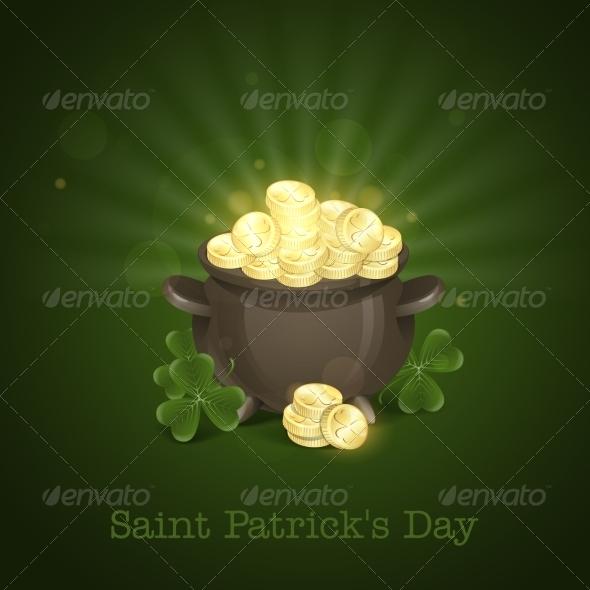 St. Patrick's Day. Pot Of Gold.