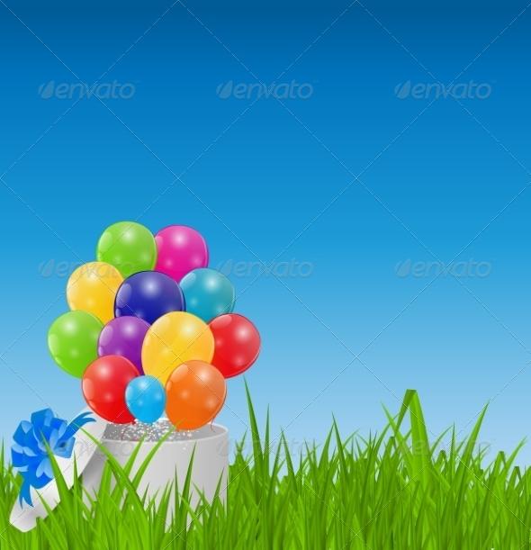 Glossy Balloons on Drass Field Vector Illustration