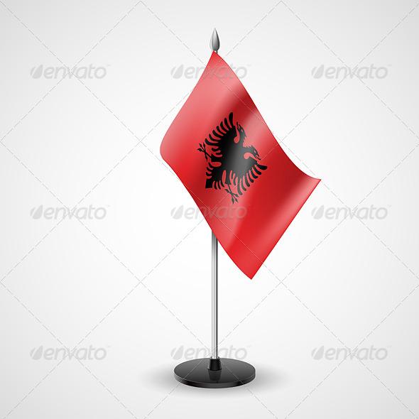 Table flag of Albania