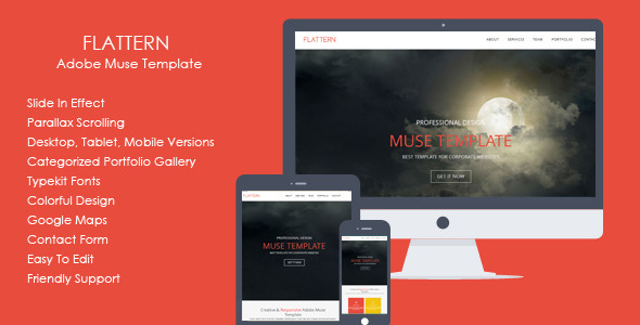 Flattern - One Page Flat Muse Template