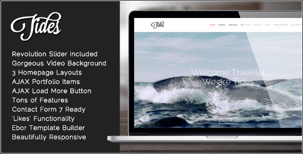 Tides - Fullscreen Video One-Page WordPress Theme