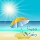 Illustration of Sunny Sea Beach with Umbrella - GraphicRiver Item for Sale