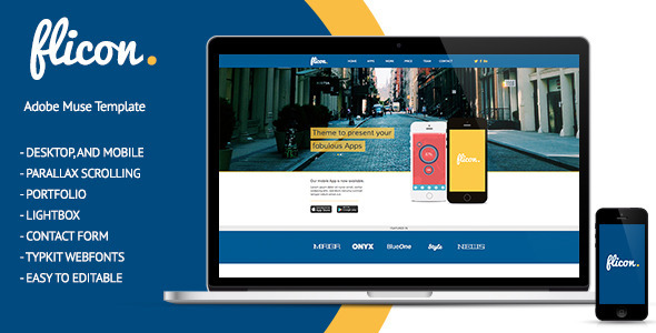 Flicon - One Page Parallax Muse Template