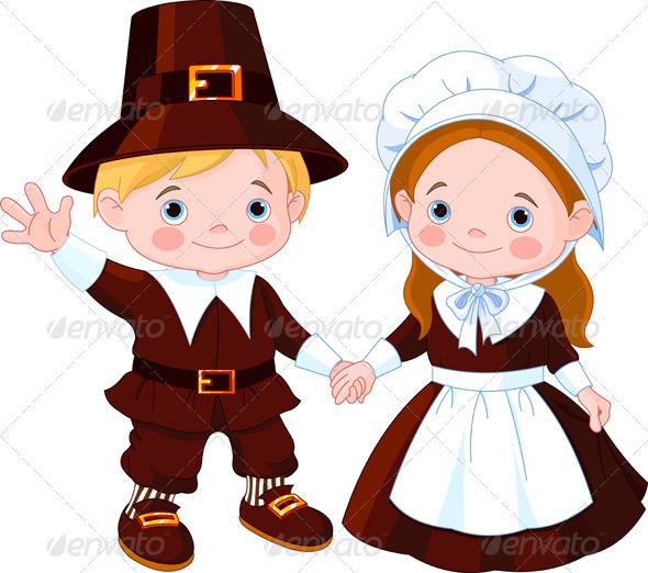 Thanksgiving Day Pilgrim Couple