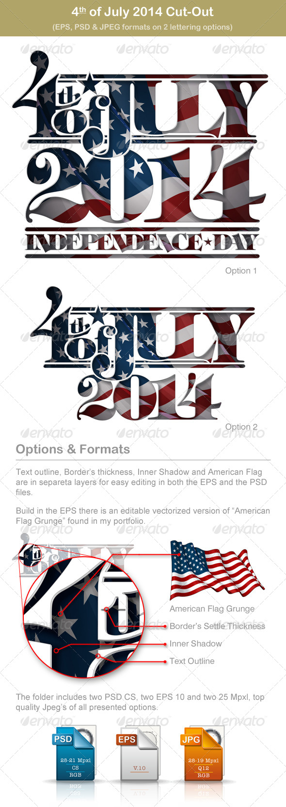 4th of July 2014 Independence Day Cut-Out