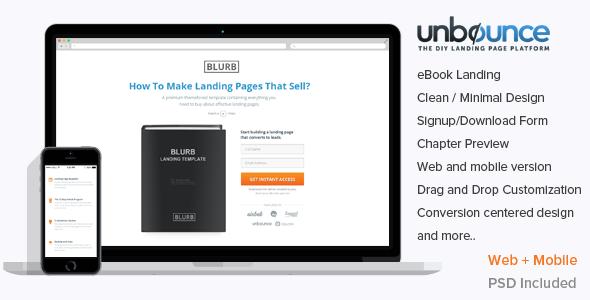 Blurb Unbounce ebook Landing Template