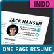 Modern One-Page Resume - GraphicRiver Item for Sale