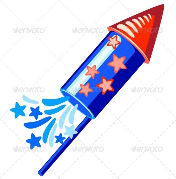 4th of July Blue Rocket