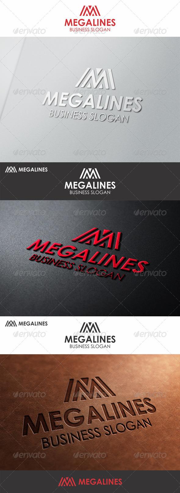 Mega Lines M Logo