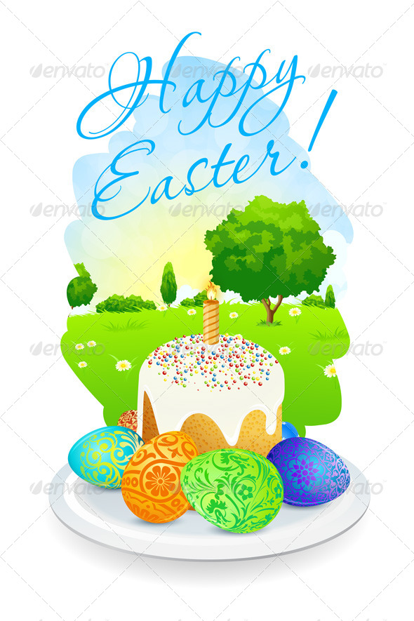 Easter Card with Landscape, Cake and Eggs