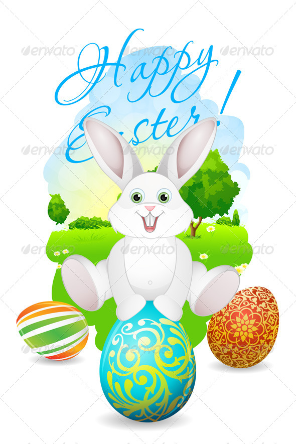 Easter Card with Landscape, Rabbit and Eggs