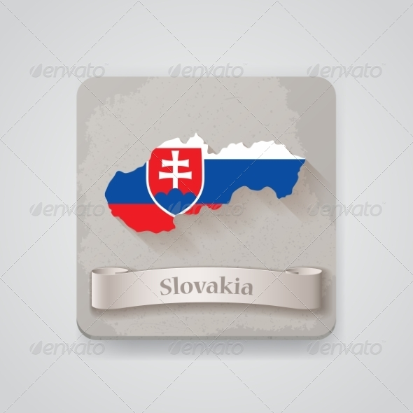 Icon of Slovakia Map with Flag.