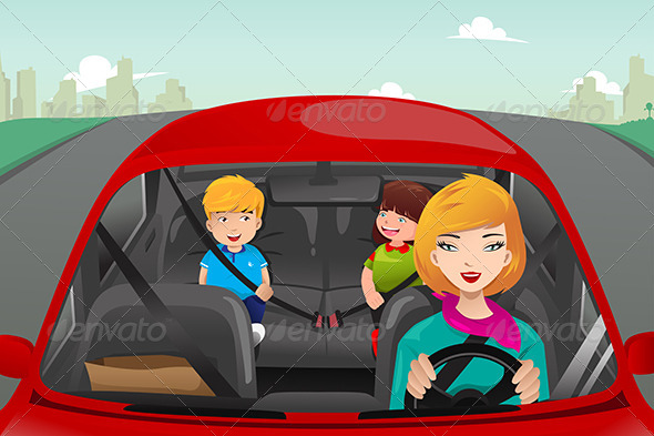 Mother Driving with her Children