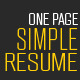 One Page Simple Resume - GraphicRiver Item for Sale