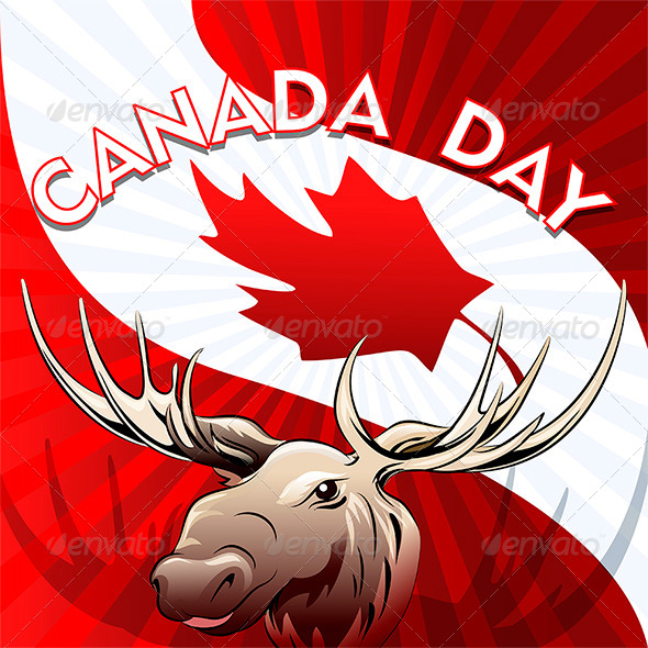 Canada Day Card with Moose