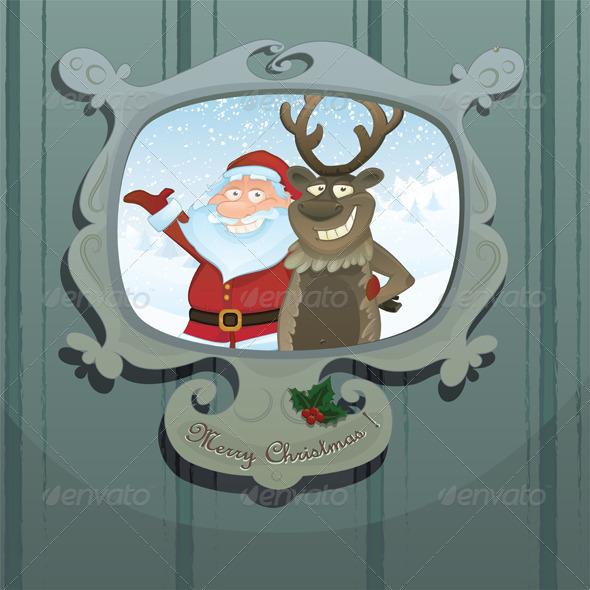 Christmas vector card with Rudolph and Santa
