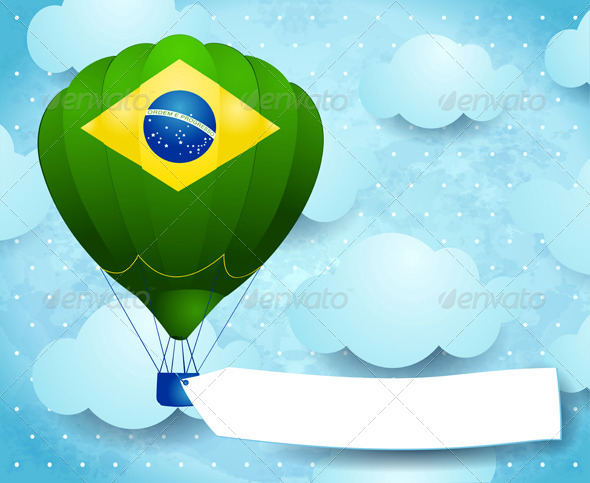 Hot Air Balloon with Brazilian Colors and Banner