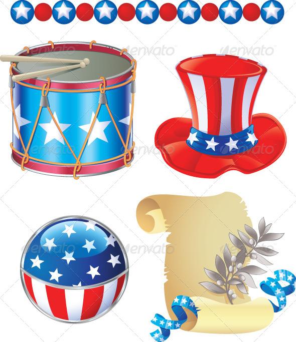4th of July Symbols Set