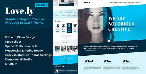Love.ly - Simple & Elegant One Page Drupal Theme