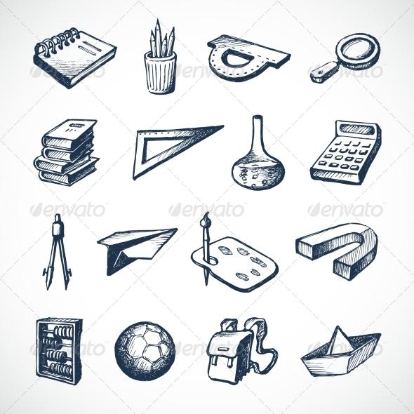 School Sketch Icons