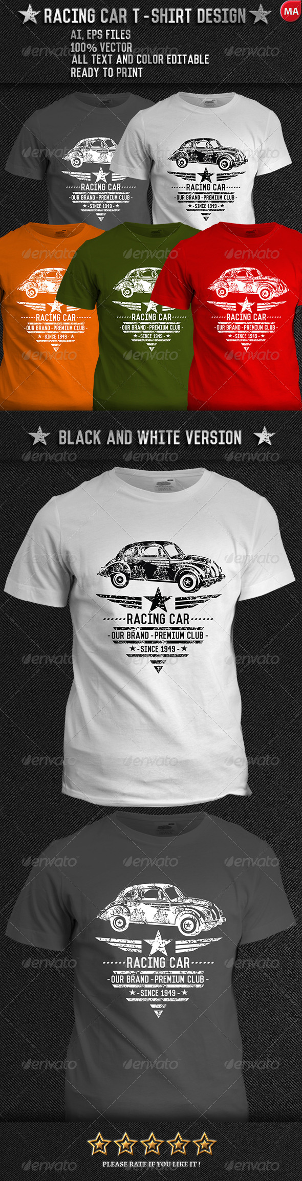 Racing Vector T Shirt Designs From