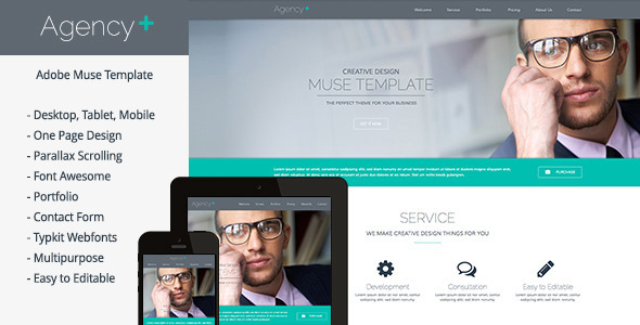 AgencyPlus - One Page Multi-Purpose Muse Template