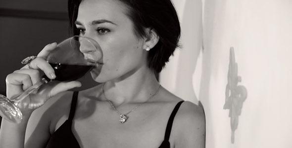 Girl Drinkink Wine