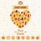 Set of Fast Food Icons, Background - GraphicRiver Item for Sale
