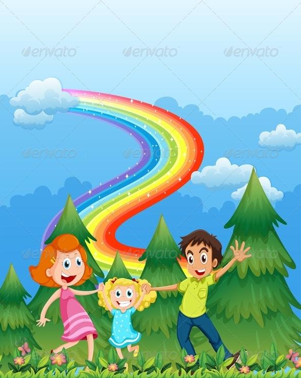 Happy Family with Trees and Rainbow