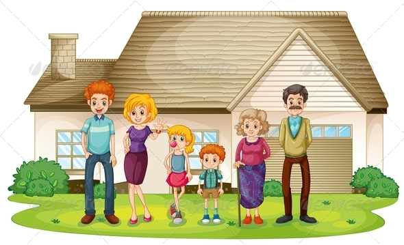Family outside their house