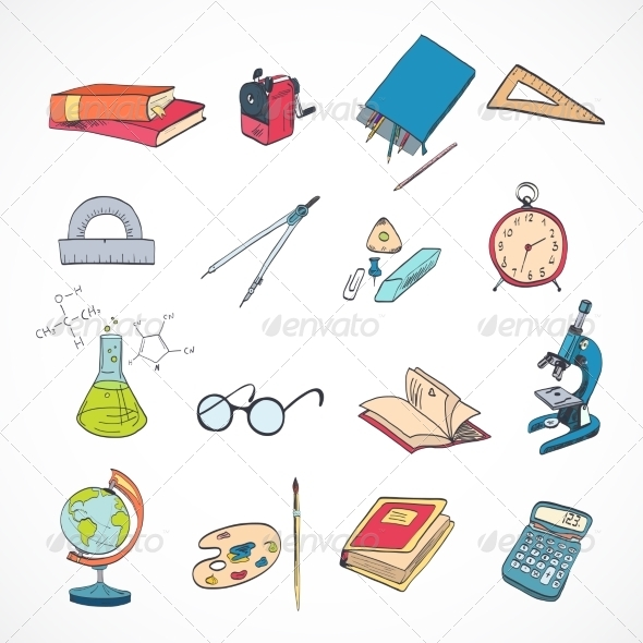 Education Icon Doodle Color