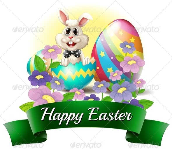 Bunny with Happy Easter Label