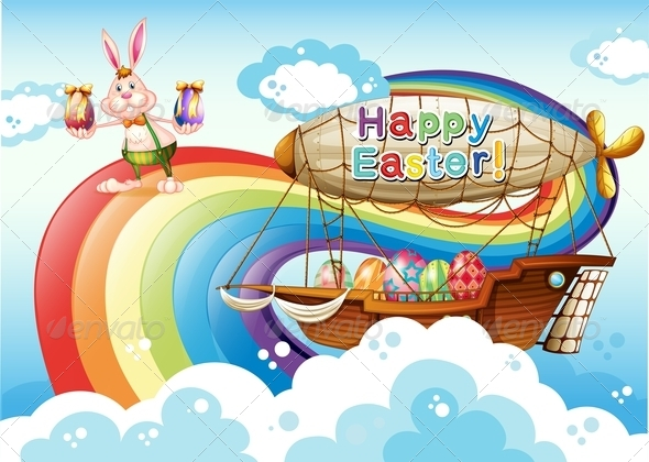 Happy Easter with eggs, bunny and Airship