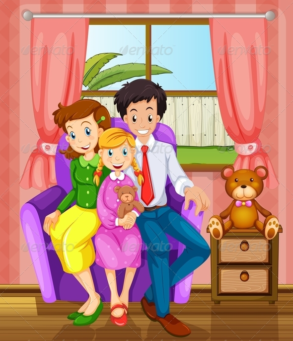 Smiling family indoors